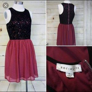 Socialite black and maroon dress